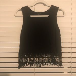 Black Fringe Crop Top